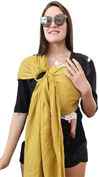 BabiJoe Mustard Linen Baby Sling