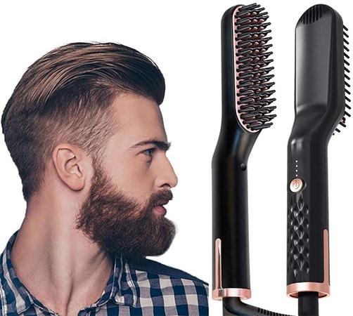 NTW Beauty Beard & Hair Straightener Brush for Men